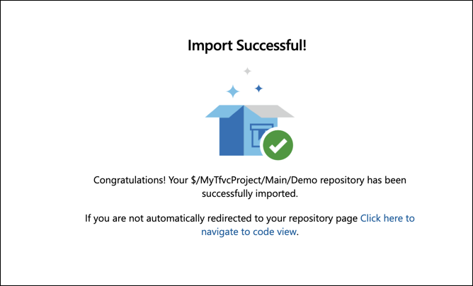 The TFVC to Git import conversion process has completed.