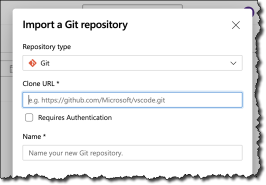 The import git repository dialog is the first step of the conversion process